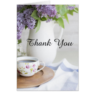 Afternoon Tea Lilac Flowers Thank You Card