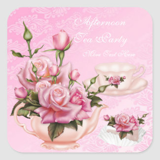 Afternoon Tea Party Pink Peach Rose Floral Teapot Square Sticker