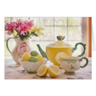 Afternoon tea with lemon beautiful photo card
