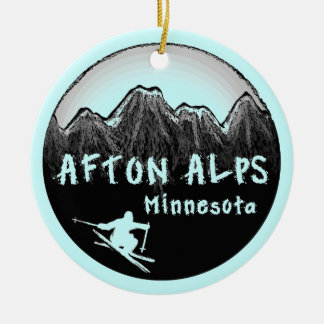 Afton Alps Minnesota skier Round Ceramic Ornament