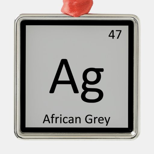 Ag - African Grey Chemistry Periodic Table Element Christmas Ornaments