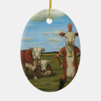 Against The Herd Ceramic Oval Ornament
