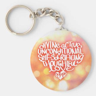 Agape Love Basic Round Button Keychain