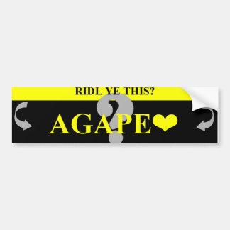 AGAPE LOVE BUMPER STICKER