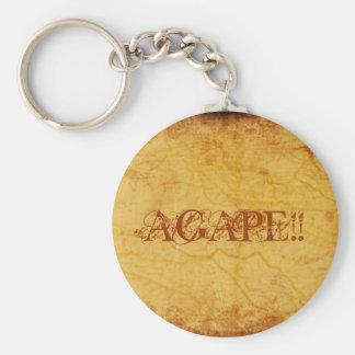 AGAPE!!... RELIGIOUS KEYRINGS BASIC ROUND BUTTON KEYCHAIN