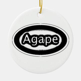 agape round ceramic ornament