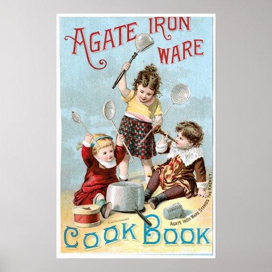 Agate Iron Ware Vintage Cookbook Ad Art Poster