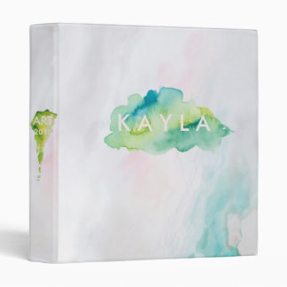 Agate Watercolor Green and Pastels Binder