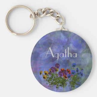 Agatha Purple Pansy Name Gift Keychain