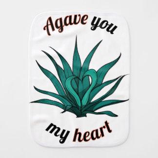 agave you my heart baby burp cloth