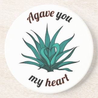 agave you my heart drink coaster