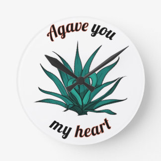 agave you my heart round clock