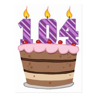 Age 104 on Birthday Cake Postcard