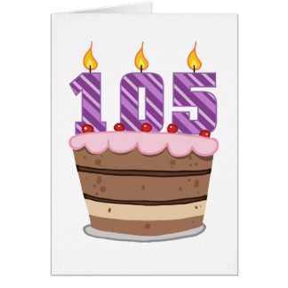 Age 105 on Birthday Cake Card