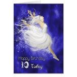 Age 10, leaping ballerina birthday card