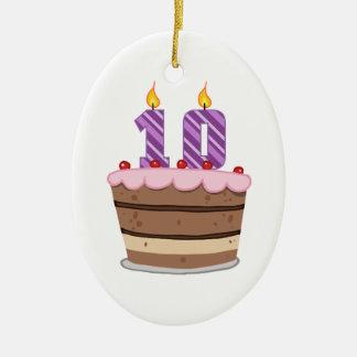 Age 10 on Birthday Cake Ceramic Ornament