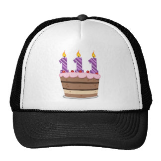 Age 111 on Birthday Cake Mesh Hats