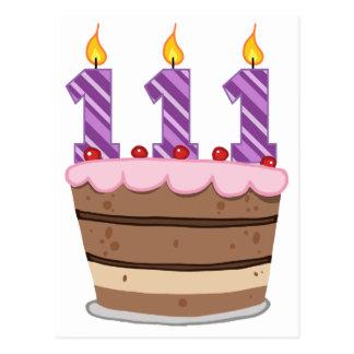 Age 111 on Birthday Cake Postcard