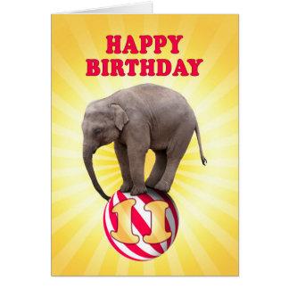 Age 11, a happy elephants birthday card