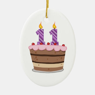 Age 11 on Birthday Cake Ceramic Oval Ornament