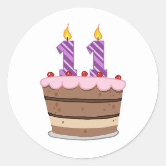 Age 11 on Birthday Cake Round Stickers
