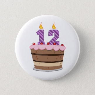 Age 12 on Birthday Cake 2 Inch Round Button