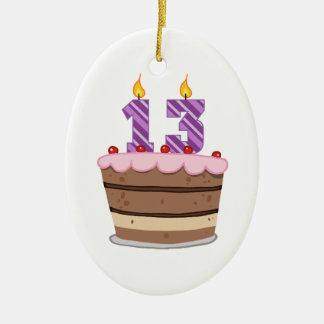 Age 13 on Birthday Cake Ceramic Ornament