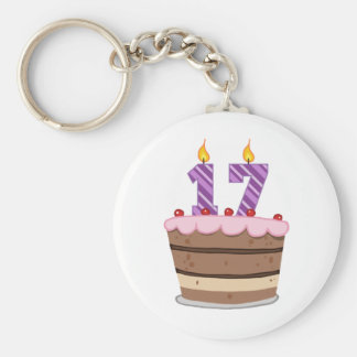 Age 17 on Birthday Cake Keychain