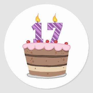 Age 17 on Birthday Cake Round Sticker