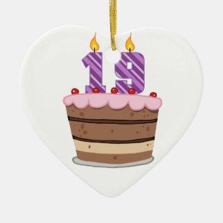 Age 19 on Birthday Cake Ceramic Ornament