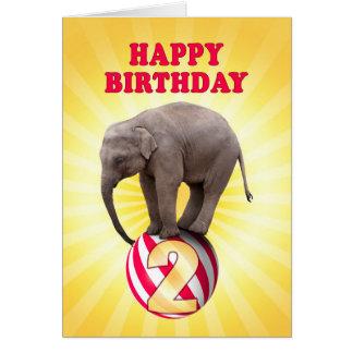 Age 2, a happy elephants birthday card