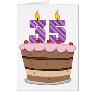 Age 35 on Birthday Cake Card
