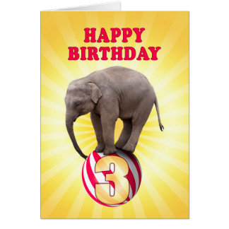 Age 3, a happy elephants birthday card