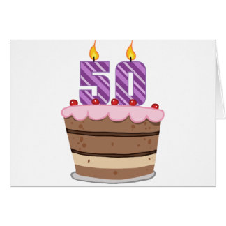 Age 50 on Birthday Cake Greeting Card