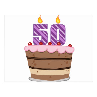 Age 50 on Birthday Cake Postcard