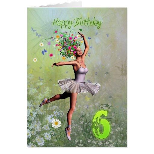 Age 6, flower fairy birthday card