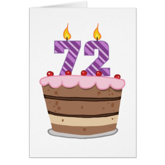Age 72 on Birthday Cake Card