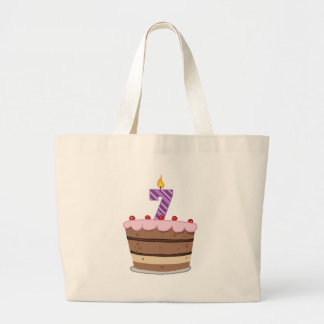 Age 7 on Birthday Cake Jumbo Tote Bag