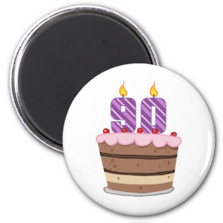 Age 90 on Birthday Cake 2 Inch Round Magnet