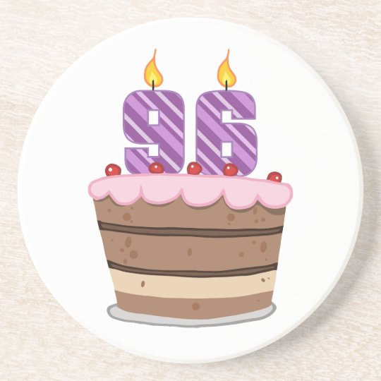 Age 96 on Birthday Cake Coaster