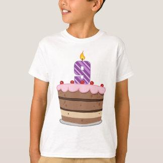 Age 9 on Birthday Cake T-Shirt