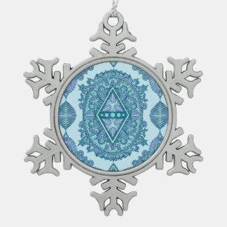 Age of awakening ,hippie,bohemian snowflake pewter christmas ornament