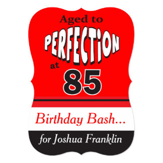"Age to Perfection at 85 | 85th Birthday 5"" X 7"" Invitation Card"