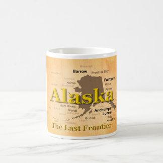 Aged Alaska Map Silhouette Coffee Mug