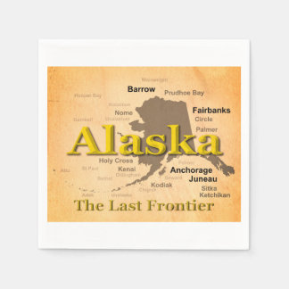 Aged Alaska Map Silhouette Disposable Napkins