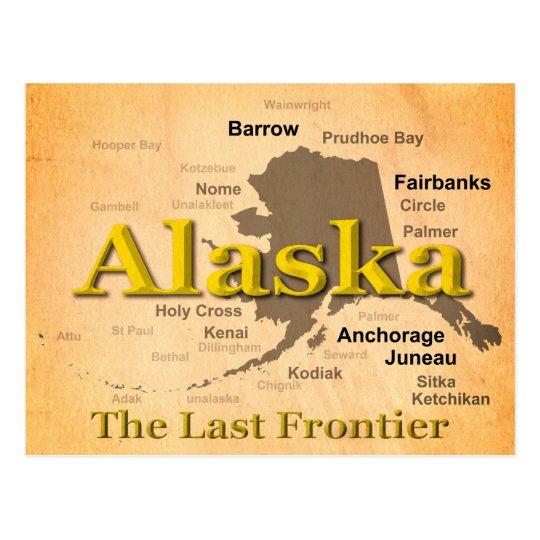 Aged Alaska Map Silhouette Postcard