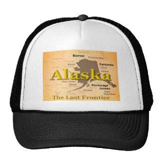 Aged Alaska State Pride Map Silhouette Trucker Hats