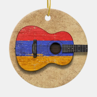 Aged and Worn Armenian Flag Acoustic Guitar Round Ceramic Ornament