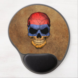 Aged and Worn Armenian Flag Skull Gel Mouse Pads