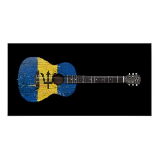 Aged and Worn Barbados Flag Acoustic Guitar, black Print